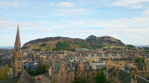 This is Edinburgh, where you can learn how to shape the world's future while staying in buildings preserved from the past, with an occasional outdoorsy open space to boot! Photo shows one of many typical views from classrooms at The University of Edinburgh. (Photo by the author.)